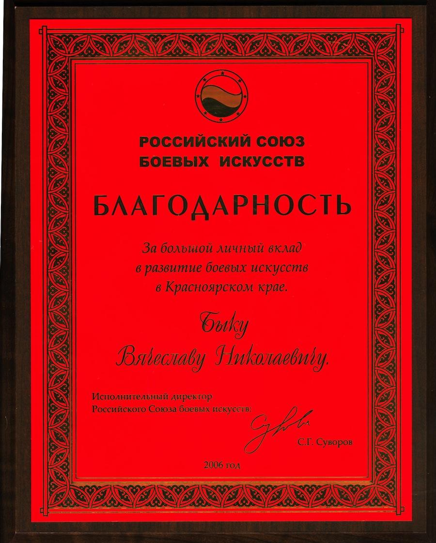 Благодарность Российского союза боевых искусств